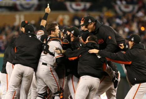 (Photo Courtesy of bleacherreport) Giants celebrating their World Series win in Detroit, Michigan.