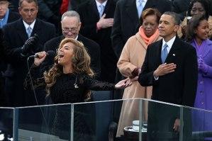 (Photo Courtesy of Hollywood.com)  Beyonce singing at Barack Obama's Inauguration.