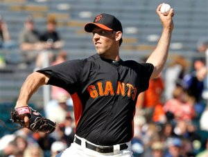 (Photo Courtesy of sfgiants.com) SF Giants pitcher, Madison Bumgarner, pitches two terrific scoreless innings in Spring Training.