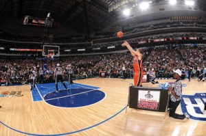 (Phot Courtesy of GQ) Stephen Curry shooting the lights out at the 3 point contest in his rookie season.
