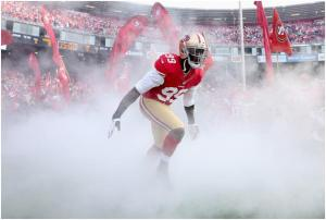 (Photo courtesy of ESPN) Aldon Smith entering the field before the game.