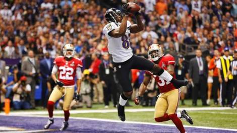 (Photo Courtesy of Globe and Mail) Anquan Boldin catching a pass for a touchdown in Super Bowl XLVII.