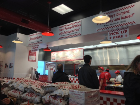 (Photo courtesy of Celine Galliguez) The Five Guys restaurant at Tanforan Shopping Center