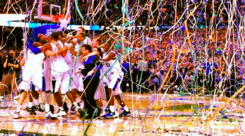 (Photo Courtsey to Buffalo) University Of Kentucky celebrating after winning the March Madness last year.