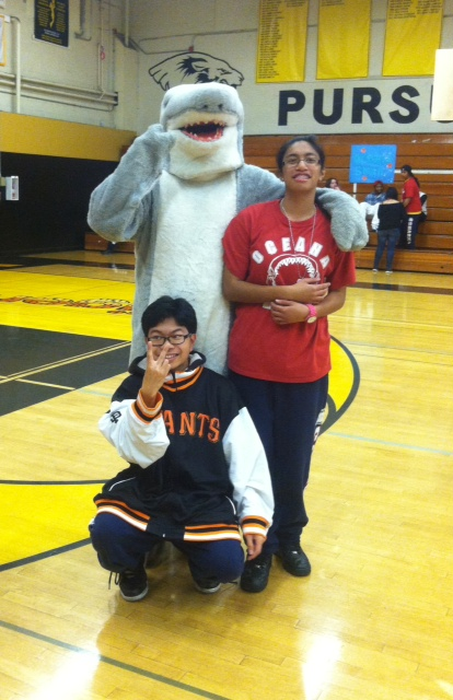Enrique Chicas (shark suit), Gillian Magat, Joshua Tongco (front) :  posed excitedly with the shark (photo courtesy of giselle reyes)
