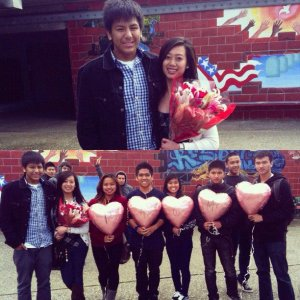 (Photo Courtesy of Kathleen Barboza) With the help of his six friends, James Garica successfuly asks Mariam De Guzman to prom