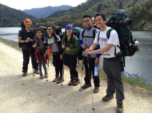 (Photo Courtesy of Celine Galliguez) Juniors, (From left to right) Nick Phinn, Sharon Lau, Caitlyn Eusebio, Celine Galliguez, Justin Canta Espiritu, and Jeremy Curimao all have giant smiles after hiking five miles to finish the backpacking interim
