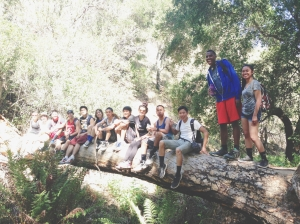Students take a break from one of their challenging hikes during camping interim. Pictured left to right: Ms. McEnany, Alex Cote, James Garcia, Maria Feeney, Aljohn Munsayac, Ally Barajas, Jorel Rodriguez, Ryan Briosos, Becky Ricaurte, Oscar Manuel, Nathan Lumanlan, Zurich Simon and Giselle Reyes.