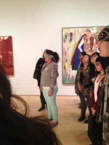 At the SFMOMA Arts in the Bay Area student Joann Bove is blindfolded for an activity.