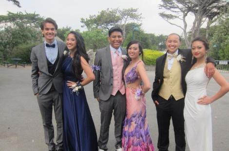 (Photo Courtesy of Aaron Patterson) (From left to right) Aaron Patterson, Daniela Recinto, James Garcia, Mariam DeGuzman, Maria Feeney, and Michelle Depadua looking stunning in their prom attire.