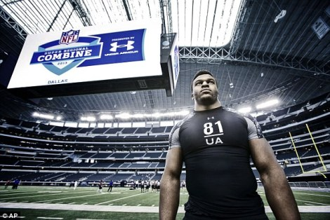 (Photo Courtesy of Daily Mail) Laurence Okoye at the Super Regional Combine.