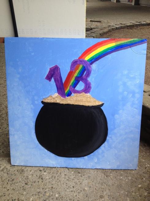 (Photo courtesy of Bridget Pocasangre) Lucky pot of gold artwork for BAM.