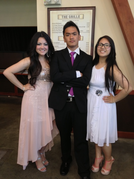 (Photo Courtesy of Mila Ghani) Juniors Cheriza Infante, Jeremy Curimao, and Celine Galliguez prove that going to prom with friends is still a load of fun.
