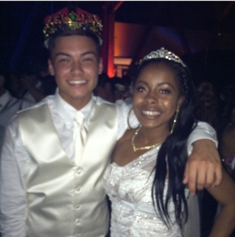 (Photo Courtesy of Daniel Francisco) Juniors Daniel Francisco and Aanise Harrison are all smiles after their win as Prom Prince and Princess.