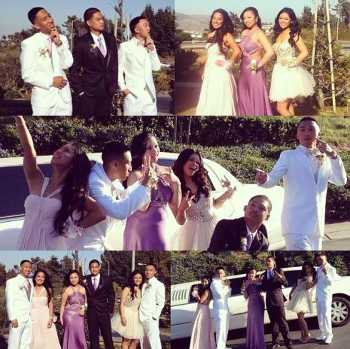 (Photo Courtesy of Caitlyn Eusebio) (Top photo from left to right) Best friends Anthony Perez, Brandon Dumandan, and Jake Suligan in their oreo themed suits and their prom dates (top right photo from left to right) Anjanette Lacar, Jezzica Sunga, and Caitlyn Eusebio.