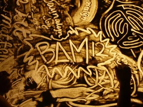 (Photo courtsey of Graham Cruickshank)  Sand art at BAM 2012