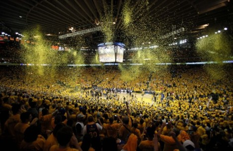 (Photo Courtesy of gameday) Oracle Arena going crazy as The Golden State Warriors move on to Round two of the playoffs.