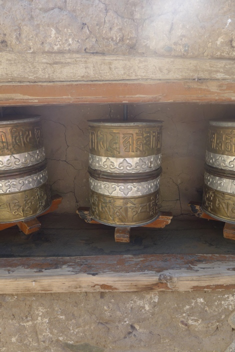 (Photo courtesy of Maddie Oaks) Buddhist prayer wheels at a monastery in Ladakh.