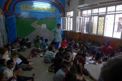 (Photo courtesy of Maddie Oaks) A Salaam Baalak Trust classroom: A Salaam Baalak shelter and classroom for street children in New Delhi