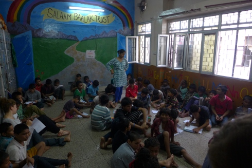 (Photo courtesy of Maddie Oaks) A Salaam Baalak Trust classroom: A Salaam Baalak shelter and classroom for street children in New Delhi