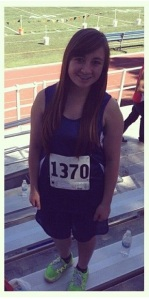 (Photo courtesy of Theresa Gepila) Meagan Johnson getting ready to run at one of her Cross Country meets!