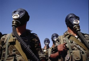Rebels wearing gas masks. ~Photo courtesy of Al Stefanelli