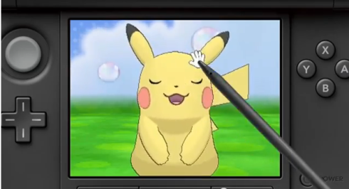 Player interacting with Pikachu in Pokemon-Amie. ~Photo courtesy of CorruptedCartridge.