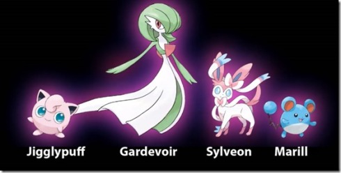 From left to right: (Normal/Fairy), (Psychic/Fairy), (Fairy), (Water/Fairy). ~Photo courtesy of Siliconera.