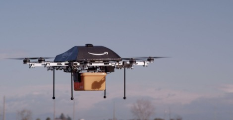 Drone delivering a package. ~Photo courtesy of Amazon.com