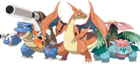 The Mega Evolution of Blastoise (left), Charizard (middle), and Venusaur (right). ~Photo courtesy of Critiques4Geeks.
