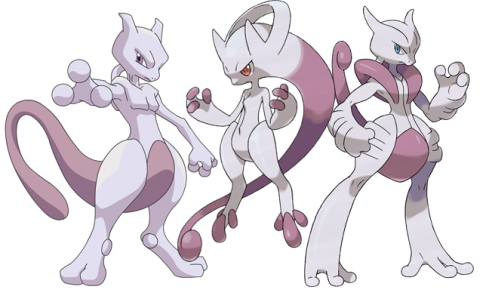 "Mewtwo and his Mega Evolution exclusive forms ""Mega Mewtwo Y and Mega Mewtwo X."" ~Photo courtesy of iGoumedia."