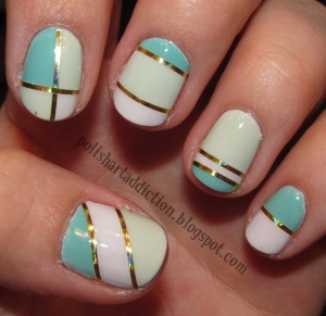 ( Photo courtesy of polishartattic.com) This is a possiable finished product of using the tape method to help do your nails.
