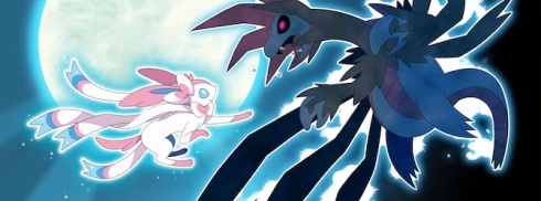 Sylveon (left), a Fairy type, fighting Hydreigon (right), a Dragon/Dark type. ~Photo courtesy of Nintendo Insider.