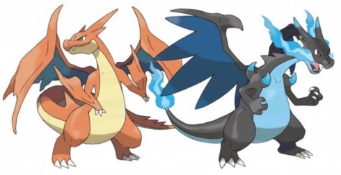 Charizard has exclusive forms depending on which game he is Mega Evolved in. Left: Mega Charizard Y, right: Mega Charizard X. ~Photo courtesy of SocietyAndReligion
