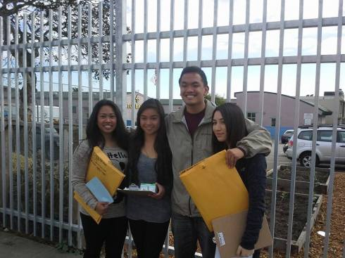 BTC members at Thornton High School after successfully proctoring the YAS. From left to right: Hayley Ramos, Angela Garcia, Jeremy C. Curimao, and Sarah Marasigan. Photo Courtesy of Mary Bier.