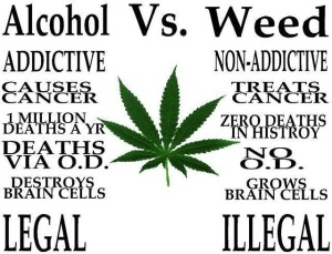 ( This photo courtesy of prayingforoneday.wordpress.com. This photo compares weed and alcohol.)