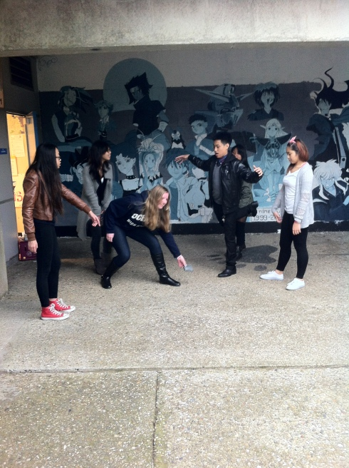 ASB members have fun in a quick game of Steal the Bacon. From left to right: Danielle C. Curimao, Kaetlyn Andrey, Christian Abellera, and Jewl Espineli. Photo Courtesy of Jeremy C. Curimao.