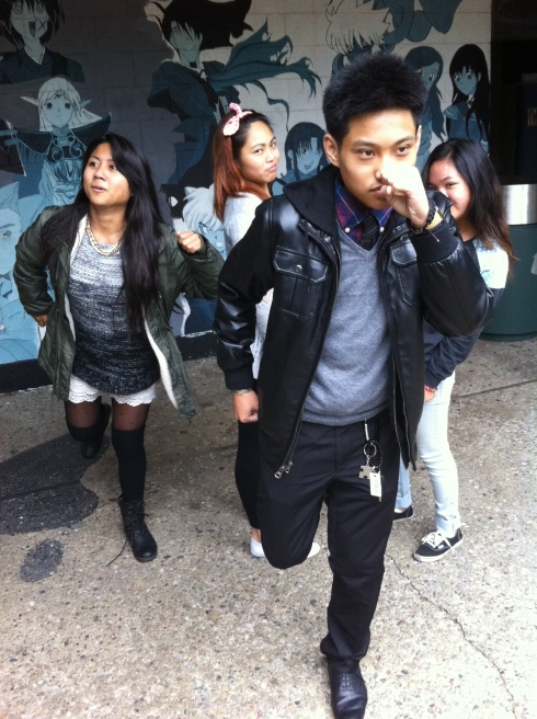 ASB members take a quick break and participate in a silly Relay Race. From left to right: Angel Gapuz, Jewl Espineli, Christian Abellera, and Camille Valerio. Photo Courtesy of Jeremy C. Curimao.