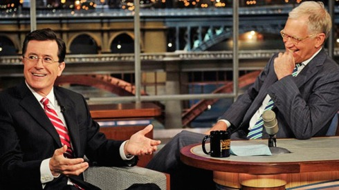 Stephan Colbert guesting on the Late Show with David Letterman. Photo courtesy of Hollywood Reporter